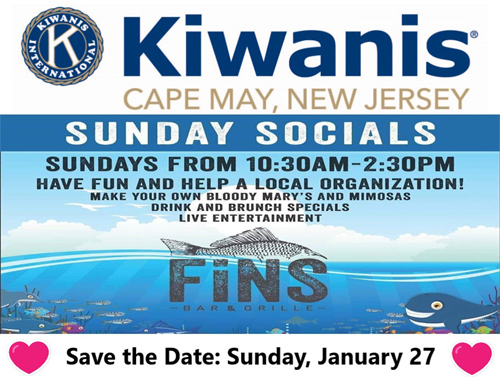 Sunday Socials - Fins Bar & Grille - Kiwanis Cape May NJ